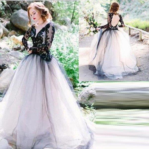 Compre Lujo Vintage Negro Blanco Princesa Una Línea De Vestidos De Novia De Cuello En V Profundo Manga Larga De Encaje Vestidos De Novia Más Tamaño