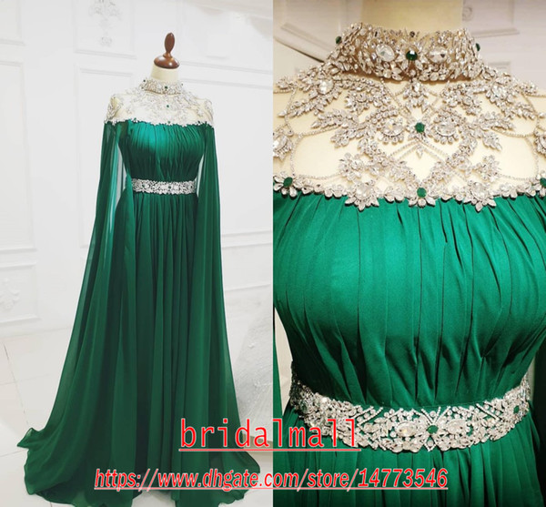 best selling Aso Ebi 2020 Arabic Green Long Evening Dresses Beaded Crystals Prom Dresses Chiffon Sexy Formal Party Second Reception Gowns robes de soirée