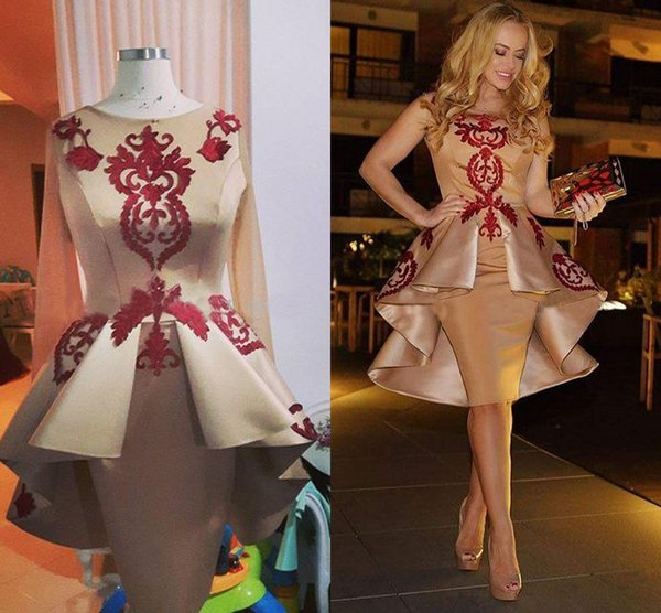 2019 Elegant Gold Appliques Satin Sheath Evening Dresses Real Image Long Sleeves Short Prom Party Dresses Cheap Homecoming Dress Party Gowns