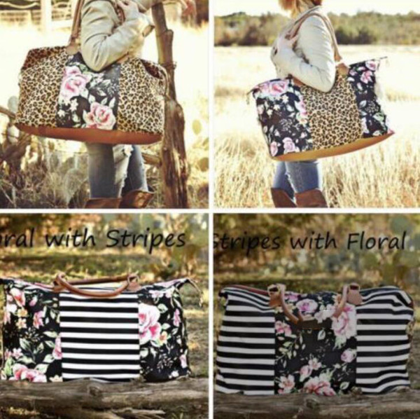 Fashion Women Handbag Flower and Leopard stripe Print Large Ladies Casual Totes Shoulder outdoor Bags LJJK1184
