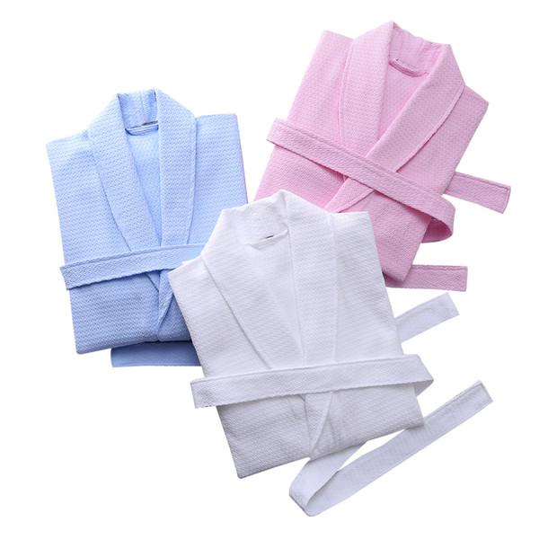 Homens Robe 100% Algodão Waffle Roupão Dos Homens Plus Size XL Sexy Kimono Robe de Banho Do Hotel Do Sexo Masculino Mulheres Roupão Robes Spa verão