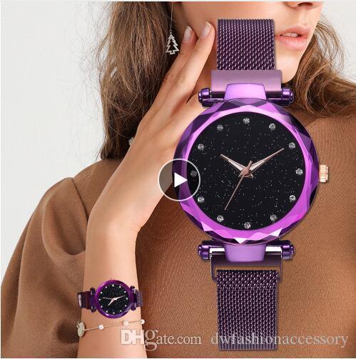 Top orologi da donna in oro rosa Mesh magnete fibbia stellata orologio al quarzo geometrica Superficie casuale Donne quarzo