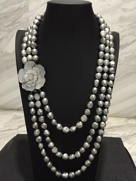Новый HandNEW 3rows завязанный осень зима основные 9-10мм натуральный серый пресноводный жемчуг ожерелье 20inches
