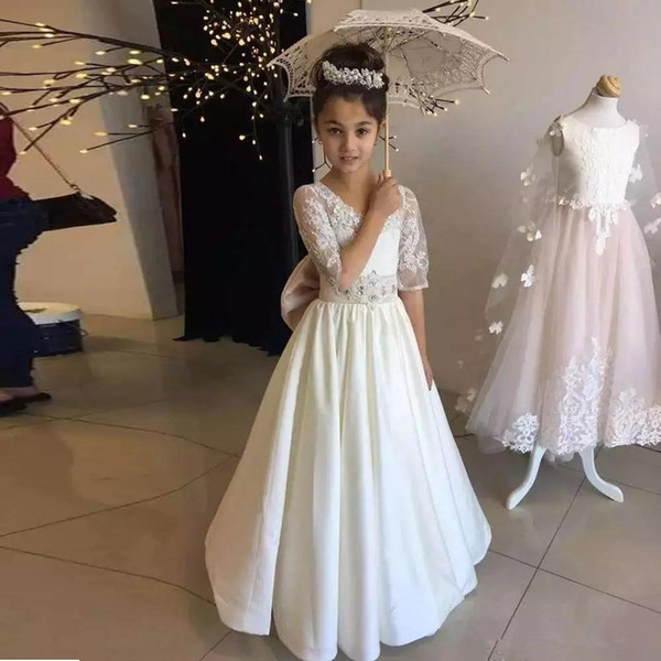 White/Ivory Lace Applique Kids TUTU Flower Girl Dresses Half Sleeve Party Prom Princess Gown Bridesmaid Wedding Formal Occasion Dress