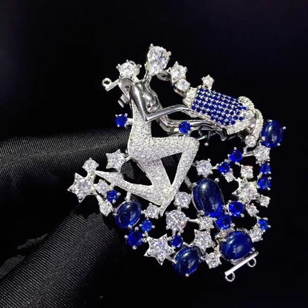 jóias findingcomponents bloqueio de colar DIY 12 constelação Aquarius 925 prata com zircão cúbico broche duplo uso
