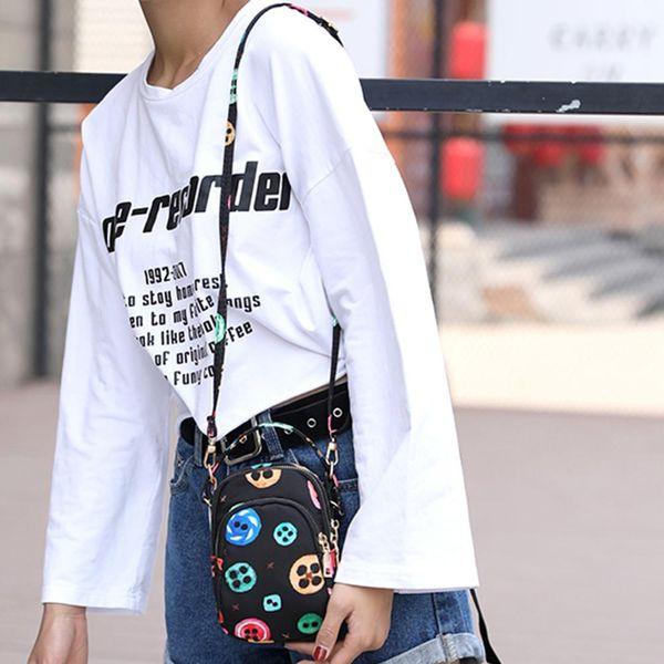 Sólida Embreagem Zíper Crossbody Mini Saco Das Mulheres de Nylon À Prova D 'Água Sacos de Telefone Móvel Saco de Ombro Único Saco Do Mensageiro Bolsas