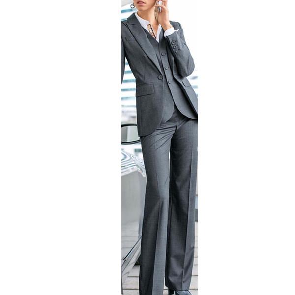 Fashionable women suits Grey 3 Piece Formal Women Ladies Business Office Tuxedos Work Wear Suits Bespoke Jacket+Pants+Vest