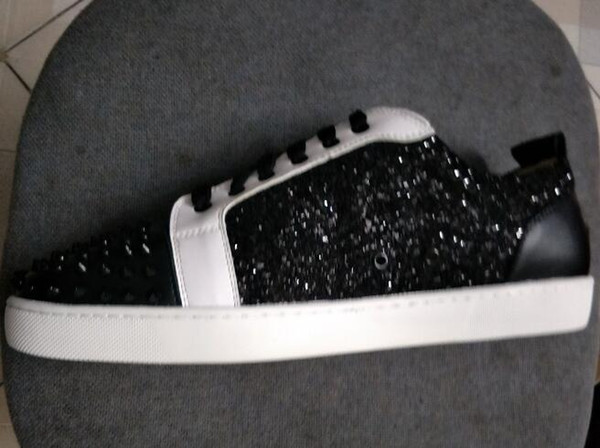 Fashion Designer Brand black glitter Flats shoes Red Bottom Shoes For Men and Women Party Lovers Genuine Leather Sneakers