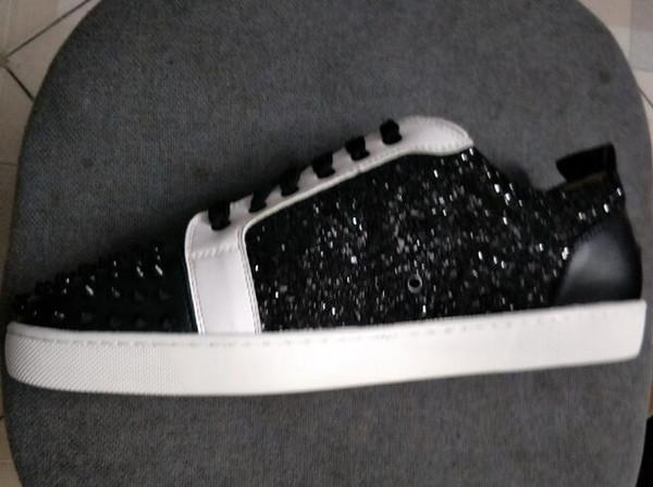 Fashion Designer Marca Black Glitter sapatos Flats Red Shoes fundo para amantes homens e mulheres partido Sneakers couro genuíno