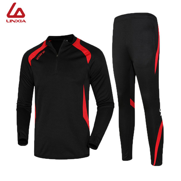2019 Men Trainning Sets Profession Breathable Soft Football Jerseys Quick Drying Exercise Sets Long Jacket Suit Kits Sportswear