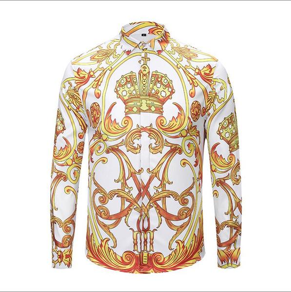 Men's casual shirts Autumn winter Harajuku Medusa gold chain/Dog Rose print shirts Fashion Retro floral sweater Men long sleeve tops shirts