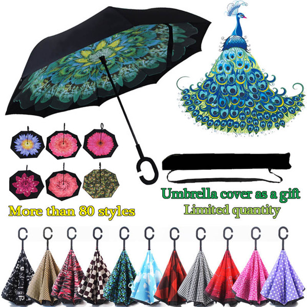 best selling Wholesale Creative Inverted Umbrellas C Handle Windproof Reverse Folding Double Layer Inverted Sunny Rainy C-Hook handsfree Umbrella for car