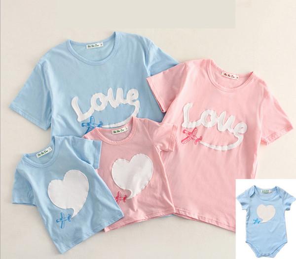 2019 Yaz çocuklar aşk nakış T-shirt kız uçak baskılı T-shirt bebek romper sevgililer günü anne ve ben eşleştirme kıyafet F3071