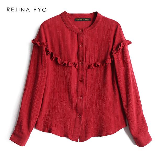 BIAORUINA Kadınlar Kırmızı Rahat Gömlek Uzun Kollu Ruffles Dekorasyon Kadın Tatlı O-Boyun Tüm Maç Gömlek Bayanlar Zarif Gömlek SH190911 Tops