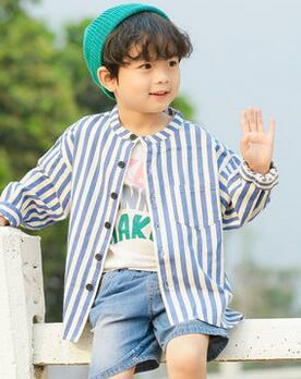 2019 New Spring fashion children Cotton Blue and white stripes V collar T-shirt Cardigan students boy clothes Autumn coat