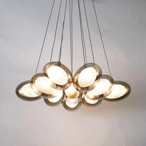 Modern Glass Bubble Ball LED Pendant Lamp Eggs Hanging Suspension Pendant Light 10/19 Heads Parlor Study Home lighting AL186