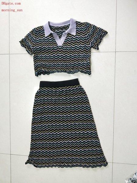 2019 мода женская одежда повседневная спортивный костюм женщины из двух частей наряды с лацканами с коротким рукавом футболки + эластичная юбка летние платья TG-5