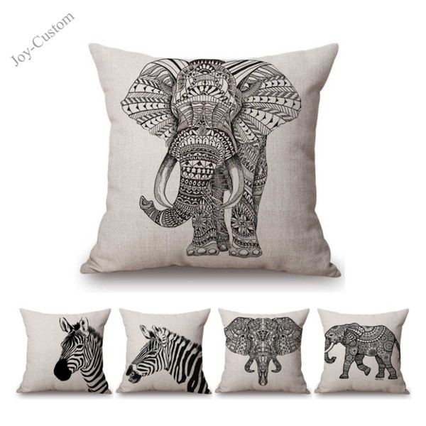 Black White Africa Animals Elephant Zebra Nordic Sofa Throw Pillow Case For Home Decoration Office Cotton Linen Cushion Cover