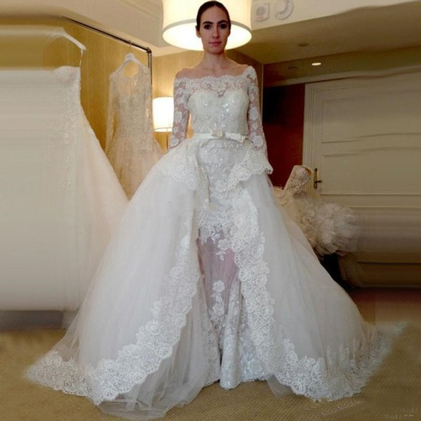Zuhair Murad Overskirt Wedding Dresses Detachable Train For Bride New 2019 Off Shoulder Sheer Long Sleeves Lace Applique Beaded Bridal Gown