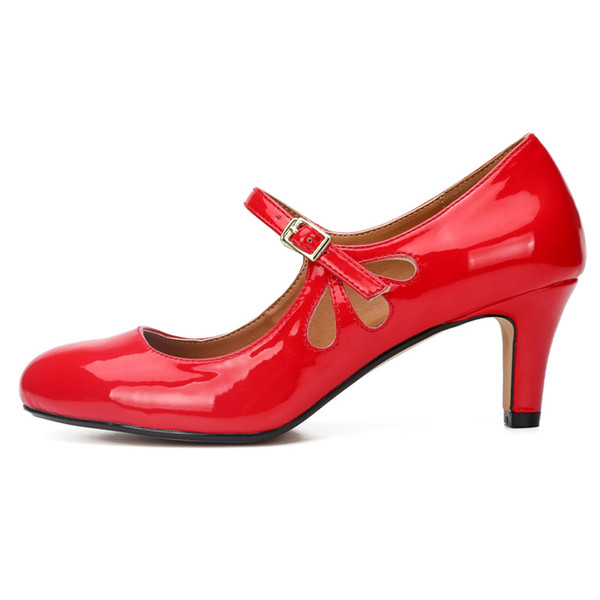 Plus Size 36-48 Mary Janes Round Toe Sexy Ladies Office Pumps Casual Simple Party High Heels Shoes Women High Quality