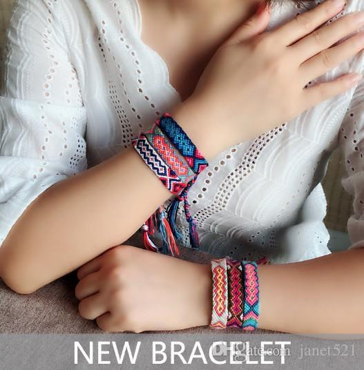 Bracelets Nepal Woven Friendship Linen Cotton Bracelets Colorful DIY Braided Thread Bracelets for Wrist Ankle Hair Ponytail Bracelet