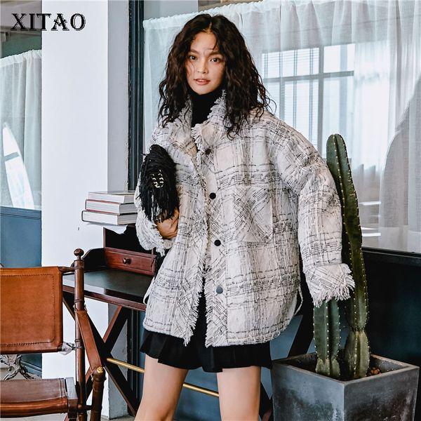[XITAO] Contrast Color Original Loose Women 2019 Spring Summer Single Breasted Plaid Tassel Casual Split Pocket Jacket DLL2546