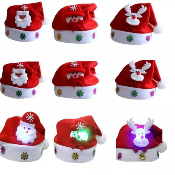 Led Kids Christmas Hat Xmas Adult Mini Rosso Babbo Natale Cervo Decorazioni per feste Natale Cappellini Decorazioni natalizie Tovaglie per bambini