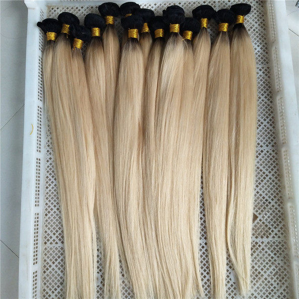 Brazilian Virgin Hair Ombre Platinum Blonde 1B 613 Color Human Hair Bundles 12inch-28inch Dark Roots Brazilian Remy Human Hair Weft