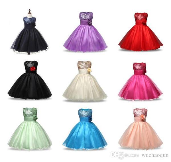 Nuevo estilo vestido de niña de lentejuelas lindo chaleco sin mangas princesa vestido de encaje bebé fiesta de dama de honor vestido de boda BY0698