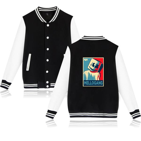 Herren Kleidung Lächeln Marshmello drucken Sport-Baseball-Uniform Fleece Cotton Pullover Männer und Frauen Herbst und Winter Gelegenheits