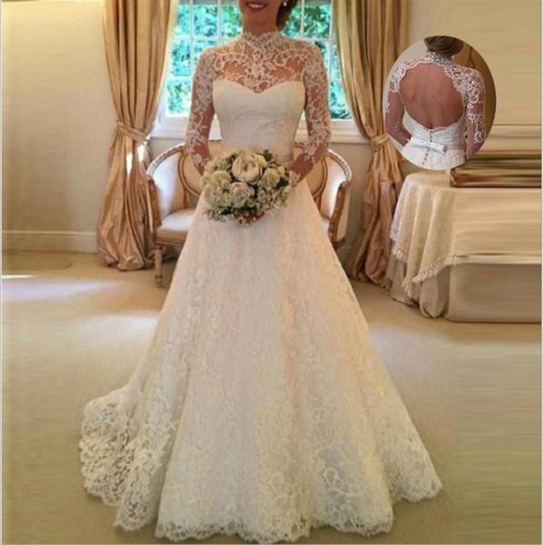 Vestito da cerimonia nuziale aperto indietro dal vestito da cerimonia nuziale del manicotto lungo del merletto del vestito da sposa di Mariage del vestito Trasporto libero