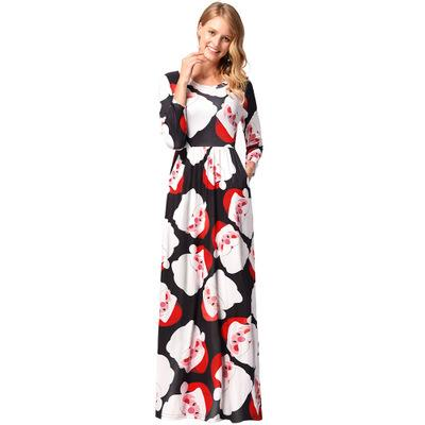 2018 nouvelles femmes costume de fête de noël robe de noël impression de mode robes de Plancher-longueur femmes manches longues