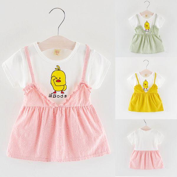 2019 Mode Enfant en bas âge Enfant Bébé Fille de Bande Dessinée Manches Courtes Imprimé Parti Princesse Robe Vêtements Casual Confortable