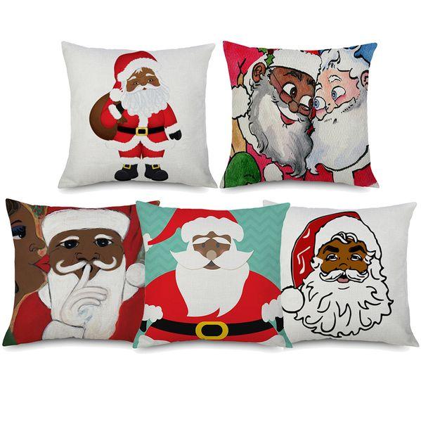 African American Santa Claus Cushion Covers Merry Christmas Holiday Decorative Linen Pillow Case 45X45cm Sofa Chair Decor
