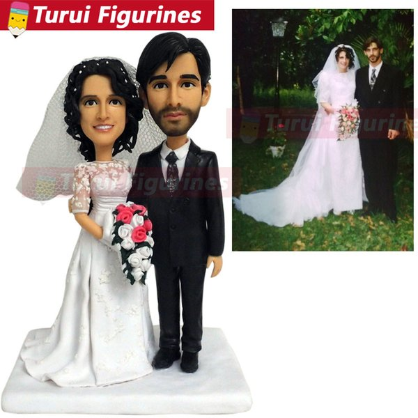 Custom Wedding Couple Bobblehead That Look Like You from photos custom kiss dolls wedding cake toppers silhouette gifts ideas