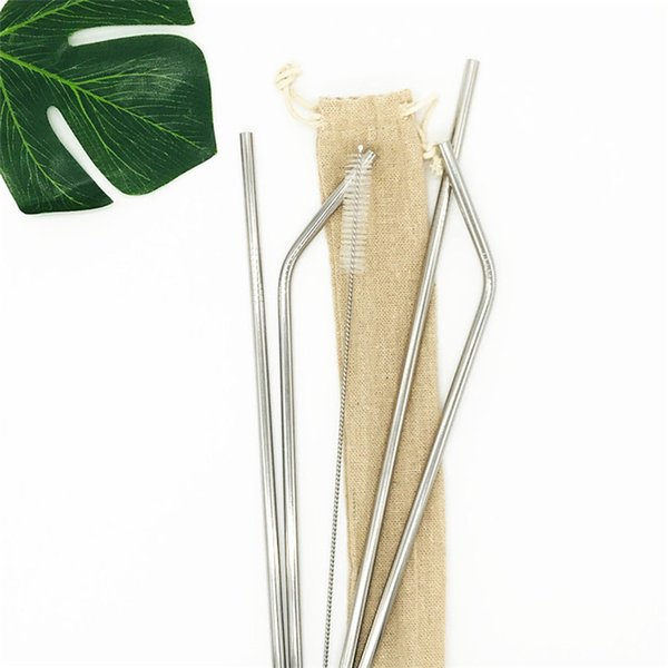Stainless Steel Drink Straw 4+1 Set Reusable Drinking Straw Set with Cleaning Brush Customized Linen Bag Packing TC190517 200Set