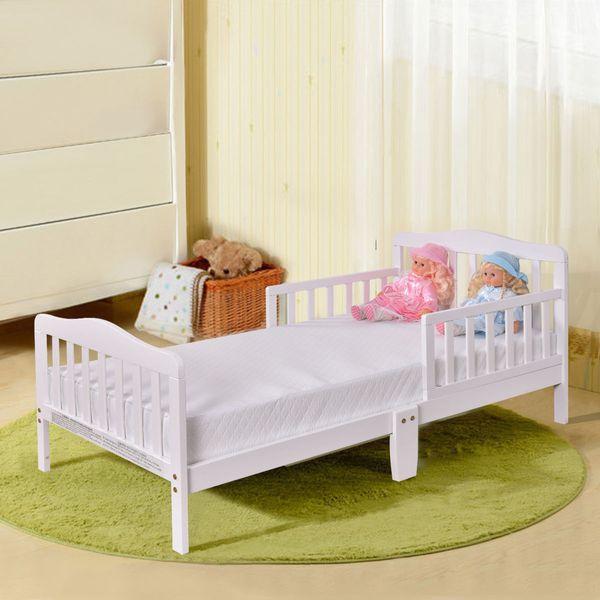 2019 Toddler Bed Kids Children Wood Bedroom Furniture W/ Safety Rails White  From Huangke18, $60.3 | DHgate.Com