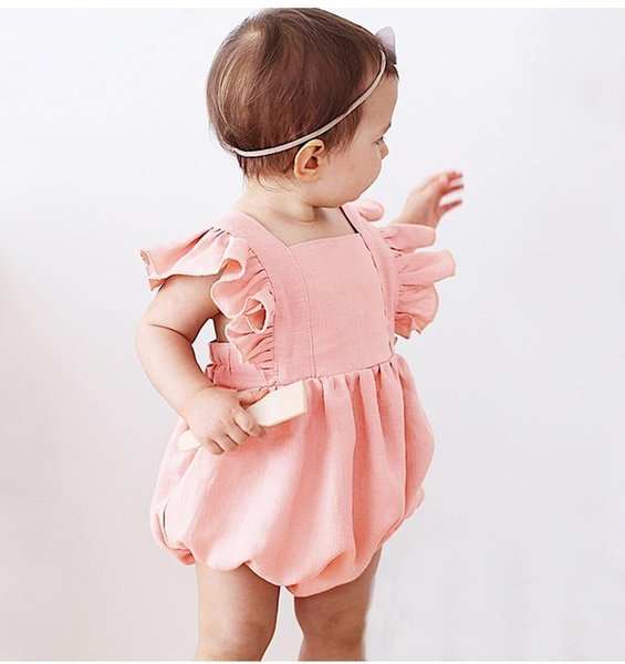 Baby Backless Solid Color Rompers Summer 2019 Kids Boutique Clothing Euro America Infant Toddlers Ruffle Sleeves Rompers