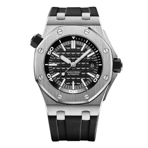 Vente chaude de luxe mens montre 42mm montres automatiques pour les hommes montre-bracelet Saphir bracelet en caoutchouc Profond imperméable à l'eau mens montre d'affaires montre de sport