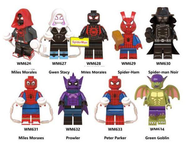 New Hot Spiderman Block Puzzle Minifig Super Man 9 figure Serizes Model Building Block Toy