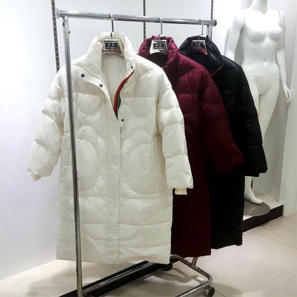 Fashion- Women White Duck Down Parka Female Down jacket Ladies Wadded Coat Female Warm Zipper Long Parkas Light Jacket Coats