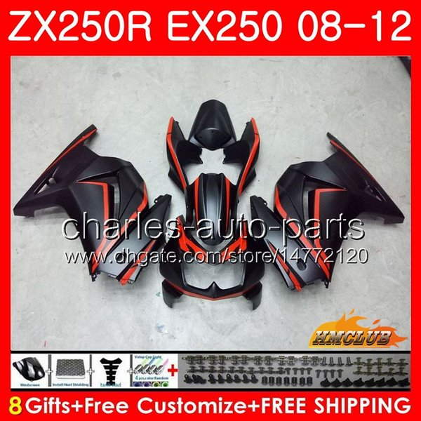 BodyForKAWASAKININJAEX-250ZX250RZX250REX250Kit13HC.83EX2500809101112ZX250R20082009201020112012Fairing matte red blk