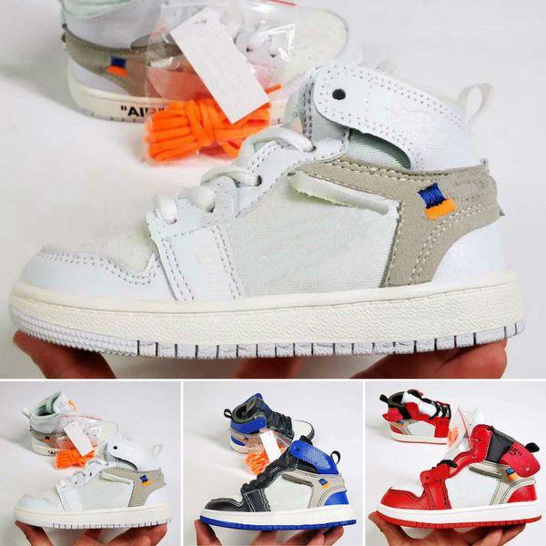Nike Air Jordan 1 Kinder Original brand fashion designer schuhe turnschuhe j1 1s 1 hohe basketball schuhe weiß schwarz rot blau grau günstigen verkauf