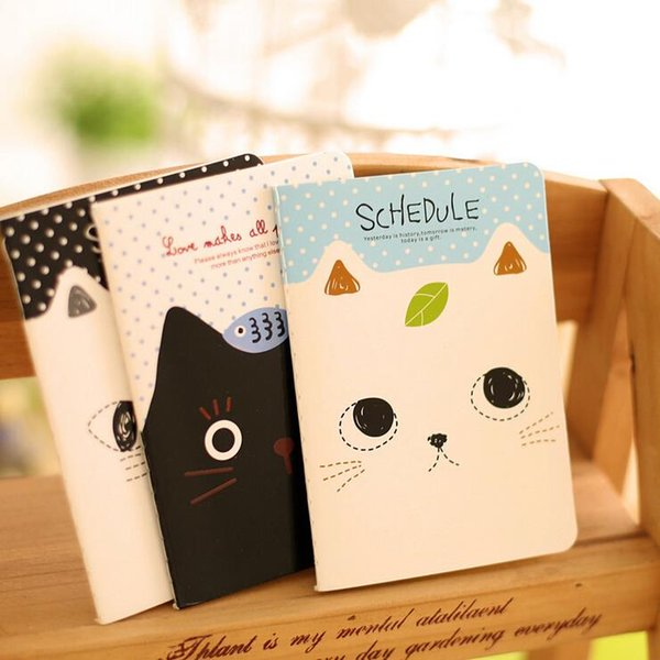 Ellen Brook 4 Pieces Stationery Planner Agenda Notepad Office School Creative Cartoon Cat Style Filofax Notebook Diary Students