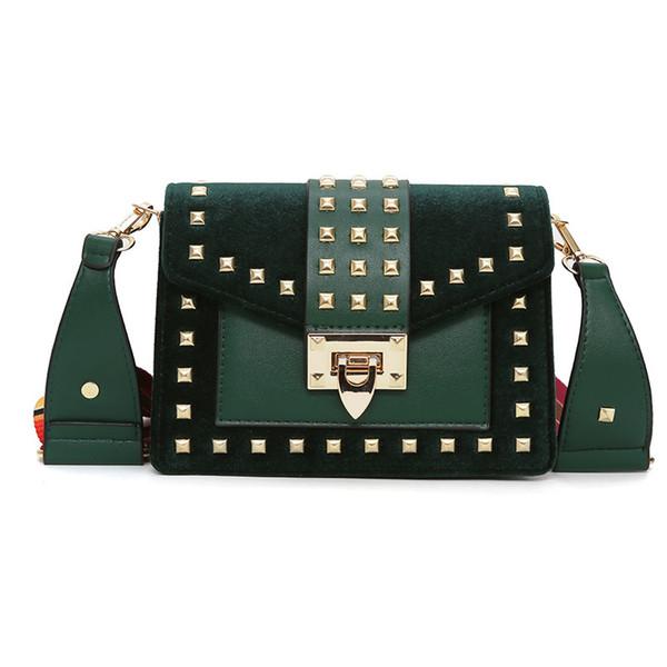 Messenger Mode Großhandel Handtaschen Bunte Designer Luxus 2019 Schwarz Umhängetasche Taschen Niet Grün Samt Gurt Crossbody Marke Dame Frauen nwPZXN08Ok