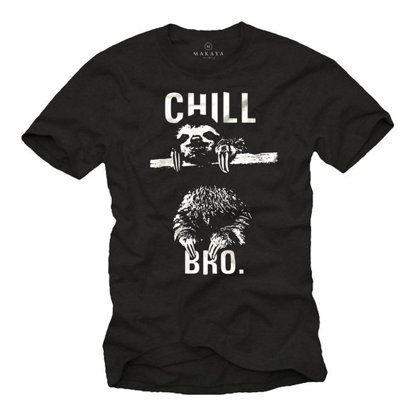 Soğut Nerd Herren T-Shirt mit CHILL BRO. Faultier-Männer Sprüche Gömlek Komik% 100% Pamuklu T Gömlek Renk Jersey Baskı T Gömlek
