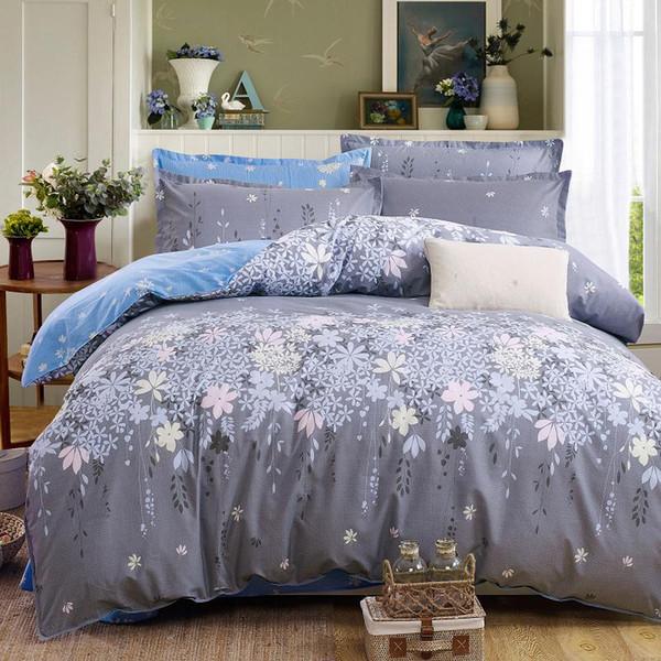Classic bedding set grey blue flower bed linen 4pcs/set duvet cover set Pastoral bed sheet side duvet cover bed