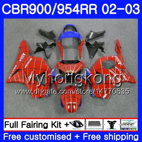 Bodys For HONDA CBR900RR Spider-Man light CBR 954 RR CBR954RR 02 03 CBR900 RR 280HM.35 CBR 900RR CBR954 RR CBR 954RR 2002 2003 Kit carenatura