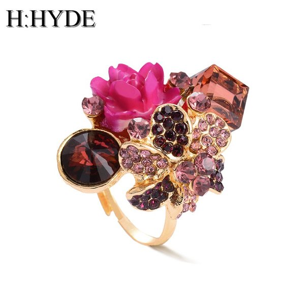 H:HYDE Purple flower ring for women hot sale crystal fashion party ring colorful jewelry trendy resin adjustable women's ring
