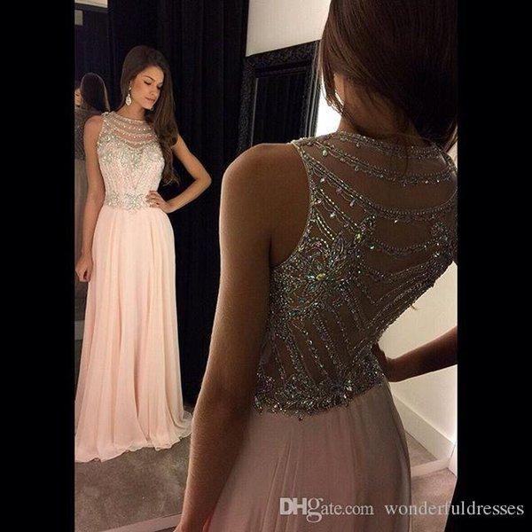 Vestido De Festa Real Photos Prom Dress 2017 O-Neck Sleeveless Cover Back Sweep Train Chiffon With Crystal 2017 Evening Dresses